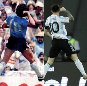 Messi festejo a lo Maradona